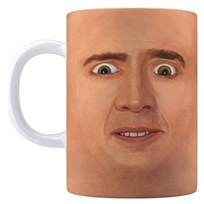 creepy nicolas cage mug