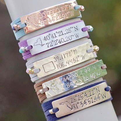 coordinates bracelet gift