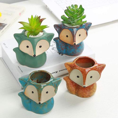 cute fox plant pots