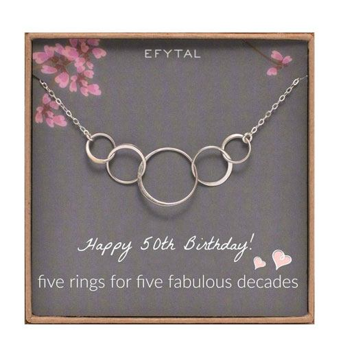 50th birthday necklace gift