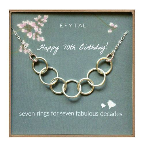 70th birthday necklace gift