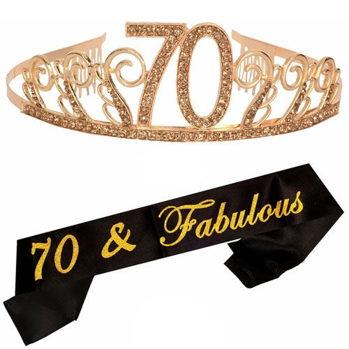 70th birthday tiara sash