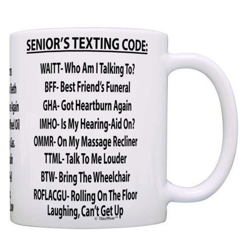 senior texting code mug gift