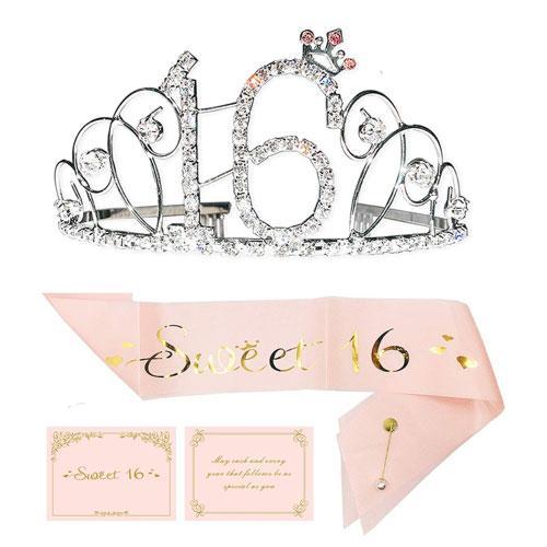 sweet 16 sash tiara gift