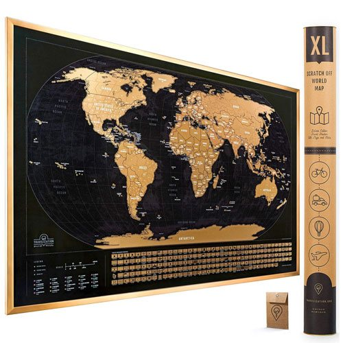XL scratch off world map