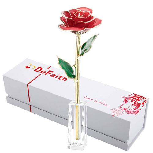 gold dipped rose present