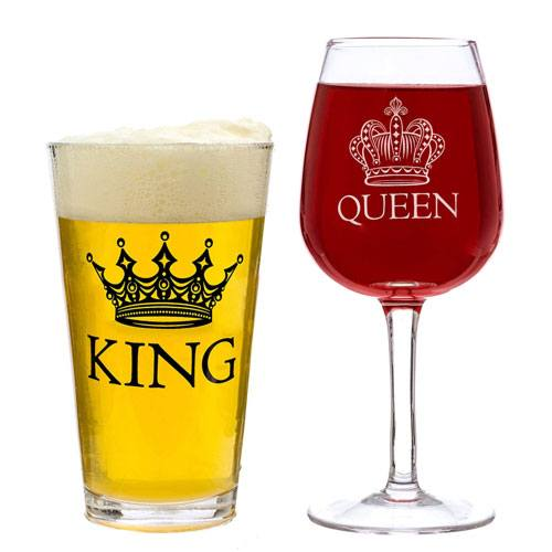 king queen glass set
