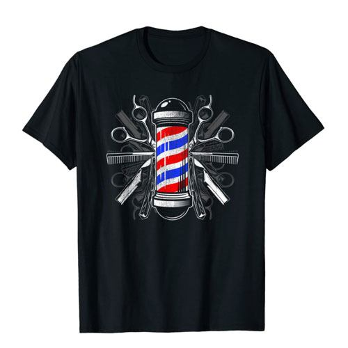 barber pole scissors t-shirt