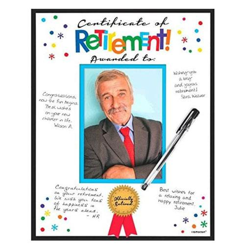 certificate of retirement card