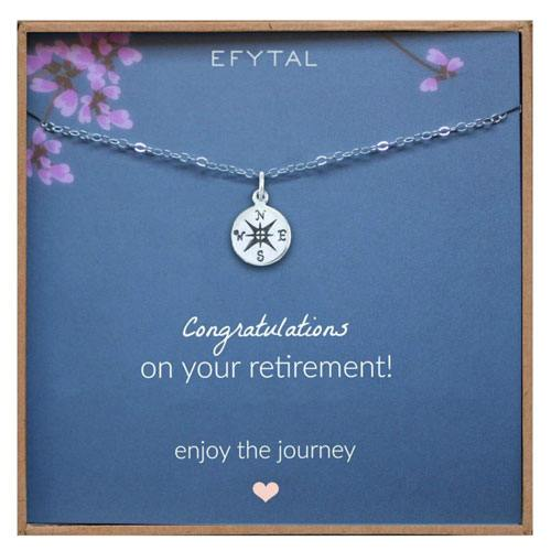 retirement compass necklace