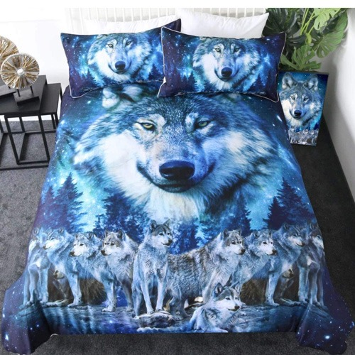 blue wolf bed sheets