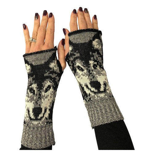 wolf fingerless gloves