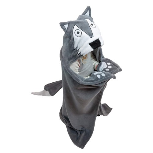 hooded wolf blanket
