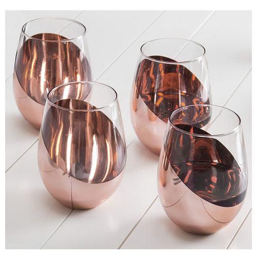 copper stemless wine glasses