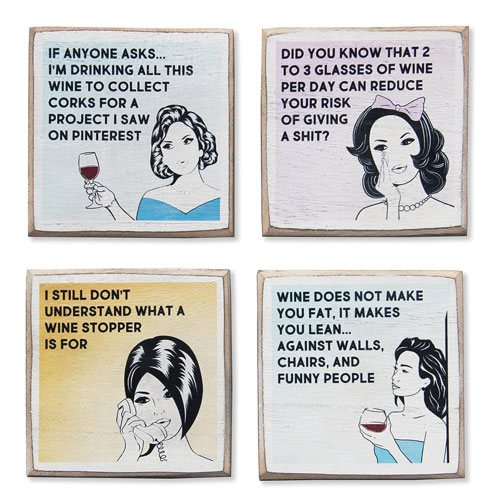 funny wine coasters set