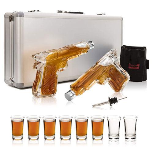 gun whiskey decanter set