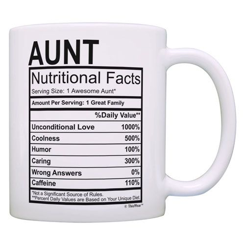 aunt nutritional facts mug