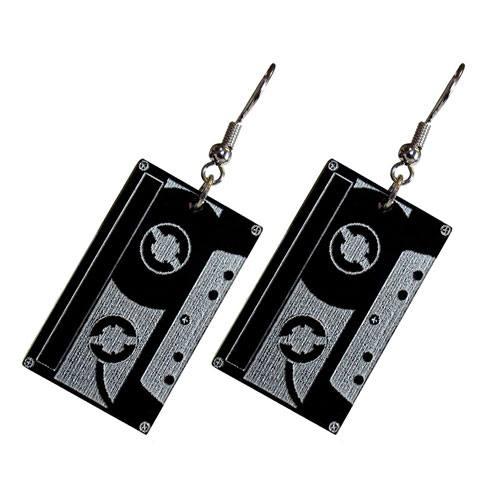 cassette tape earrings present
