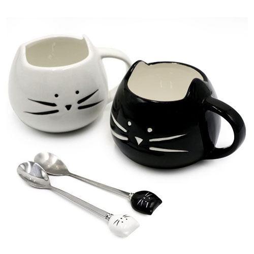 ceramic cat coffee mugs set