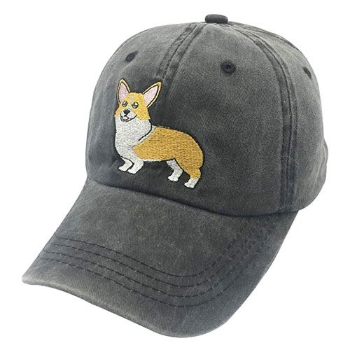 embroidered corgi baseball cap
