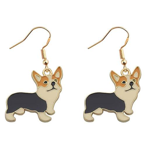 corgi dangling earrings