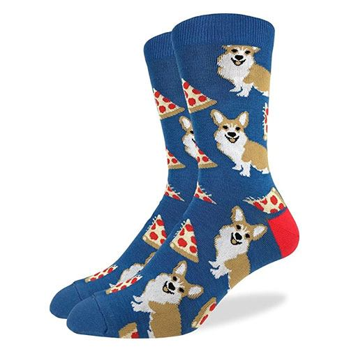 corgi pizza socks pair