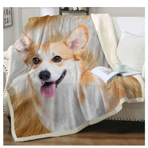 corgi print throw blanket