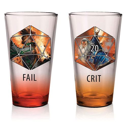 dnd fail & crit pint glasses