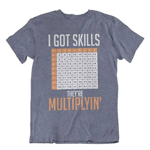 multiplication table t-shirt