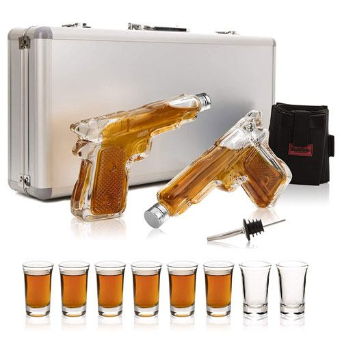 pistol decanters shot glasses gift