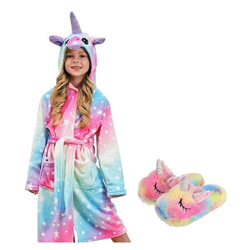 hooded unicorn bathrobe for 7 year old girls