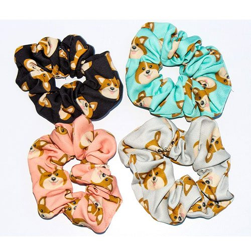 welsh corgi hair scrunchies