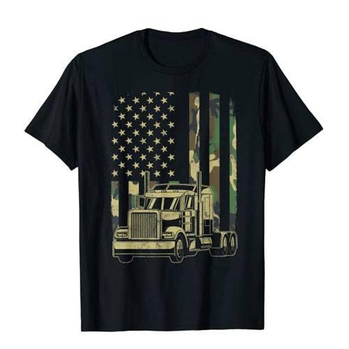 american flag trucker t-shirt