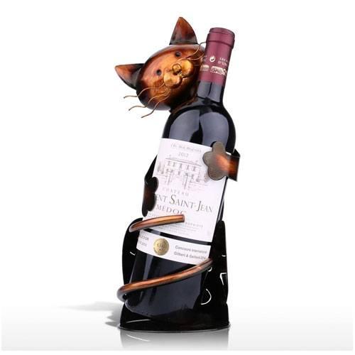 cat wine bottle holder decor