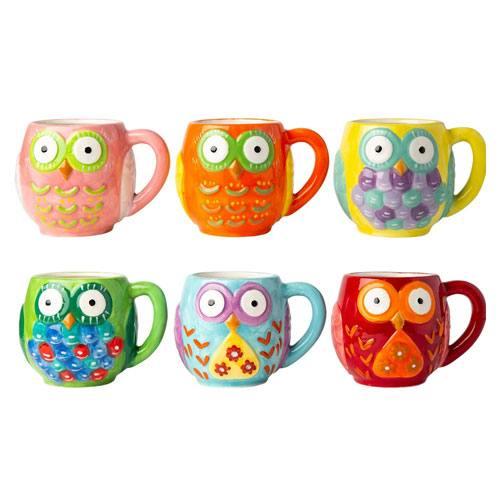 ceramic owls mug set