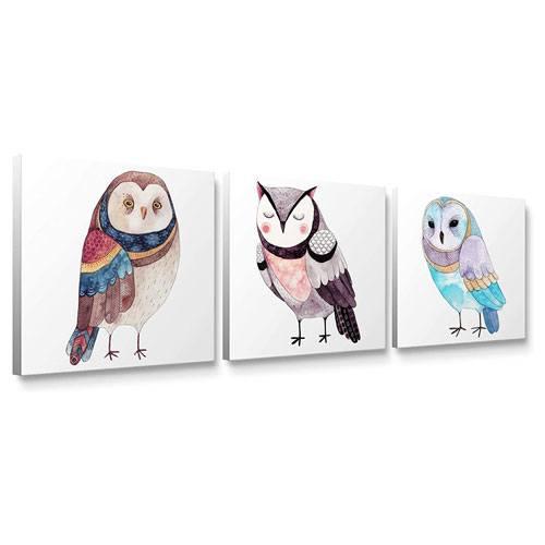 cute owl canvas wall art