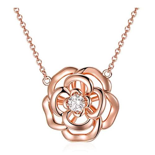 heart rose flower necklace