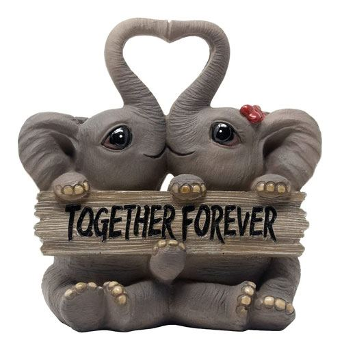 loving elephants figurine