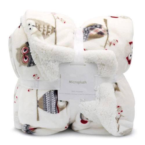 owl sherpa throw blanket
