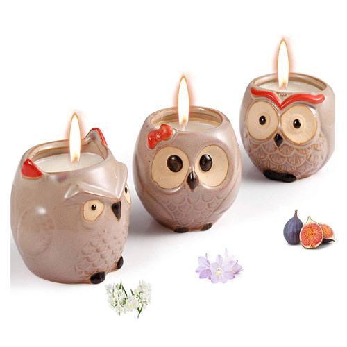 novelty owl candles set
