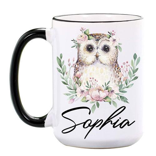 personalized owl coffee mug