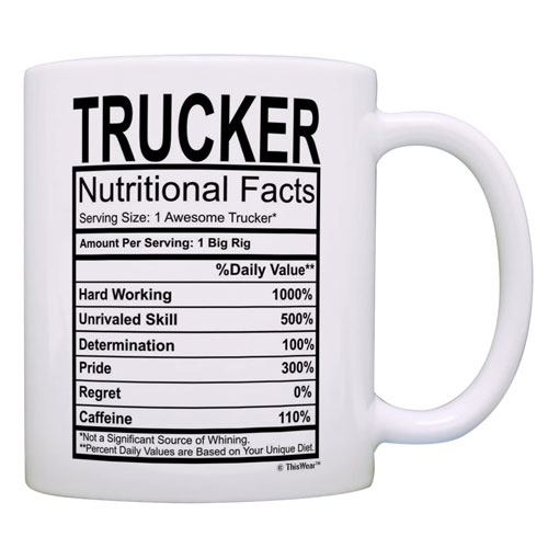 truck nutritional facts mug