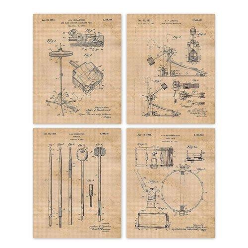 vintage drums patent poster prints