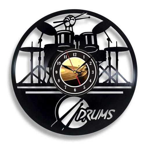 vinyl drum wall clock