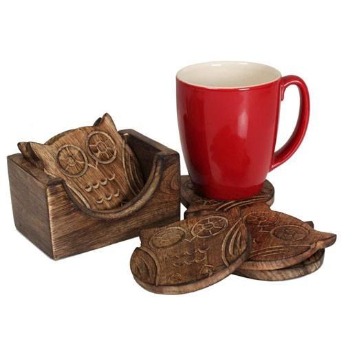 wooden owl coaster set