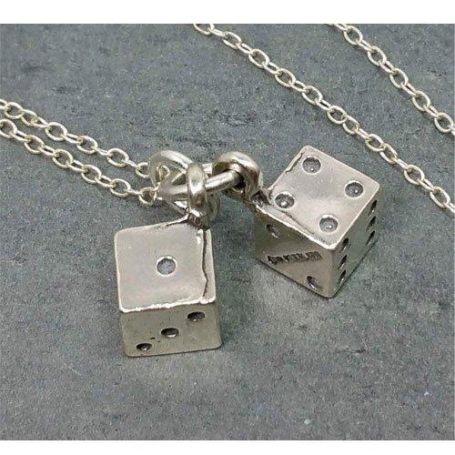 dice charm necklace jewelry
