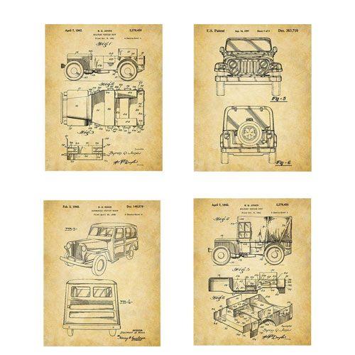 jeep patent wall art prints
