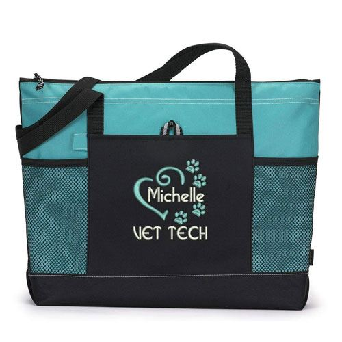 personalized vet tech tote bag