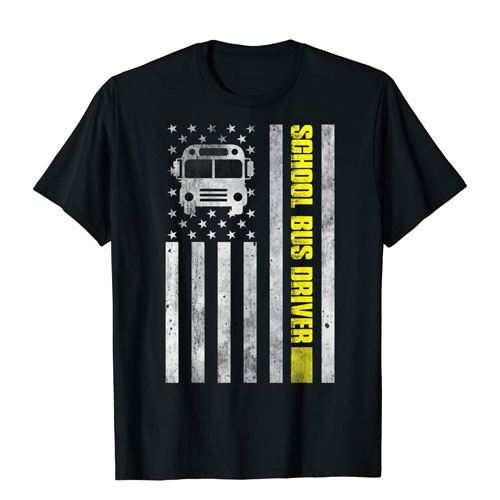 school bus american flag shirt