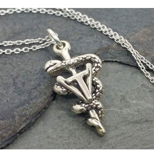 sterling silver vet tech charm necklace